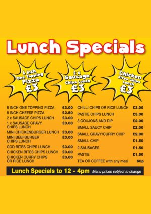 Lunchtime Specials Menu